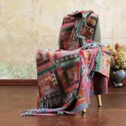 Volnena deka WoolMe 130x190 Marta rdeča zelena