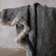 Lanena deka 135x200 Rustic Natural Black